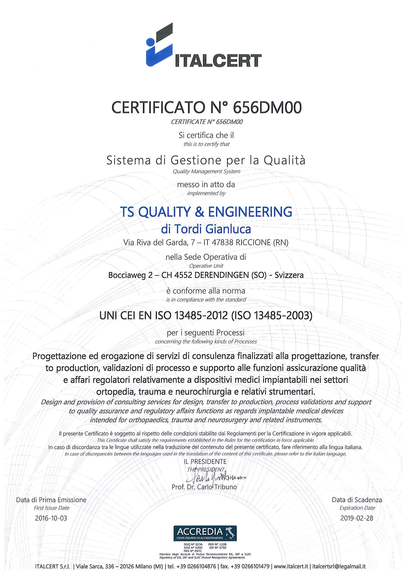 Iso 13485 certification for Finite elemente analyse